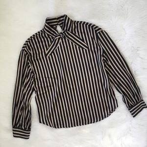 Zara Striped Pussy Bow Long Sleeve Shirt